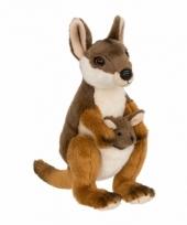 Pluche kangoeroe met baby knuffel 19 cm