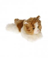 Pluche kat bruin en wit 30 cm