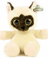 Pluche kat met glitter ogen beige