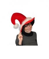 Pluche kerstmuts met veertjes