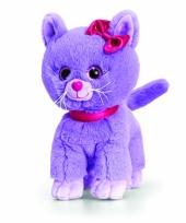 Pluche kitten kat poes paars staand 25cm