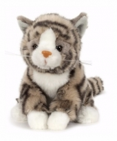 Pluche knuffel grijze kat poes met zwarte strepen 16 cm