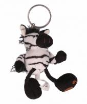 Pluche knuffel zebra sleutelhanger