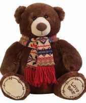 Pluche knuffeldier beer bruin met sjaal 65 cm