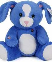Pluche knuffeldieren konijn blauw 30 cm