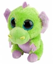Pluche knuffeltje draakje groen paars 13 cm