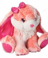 Pluche knuffeltje konijn roze wit konijn 30 cm
