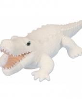 Pluche knuffeltje krokodil wit 38 cm