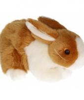 Pluche konijn knuffeldier bruin wit 20 cm
