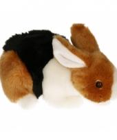 Pluche konijn knuffeldier bruin zwart wit 20 cm
