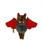 Pluche vleermuis rood 14 cm