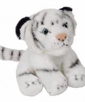Pluche witte tijger zittend knuffeldier van 15cm