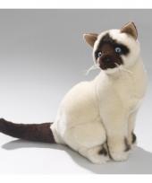 Pluche zittende siamese kat knuffel 26 cm