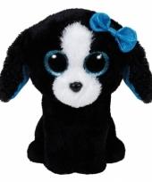 Pluche zwarte hond knuffel ty beanie15cm