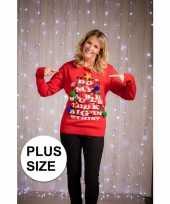 Plus size foute kersttrui met verlichting voor dames