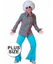 Plus size jaren 70 blouse met felle kleuren