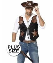 Plus size zwarte cowboy vest voor heren