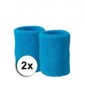 Pols zweetbandjes pakket turquoise