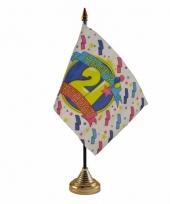 Polyester 21 jaar vlag 10 x 15 cm tafel versiering