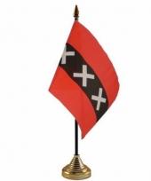 Polyester amsterdamse vlag voor op bureau 10 x 15 cm