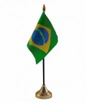 Polyester braziliaanse vlag voor op bureau 10 x 15 cm
