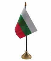 Polyester bulgaarse vlag voor op bureau 10 x 15 cm