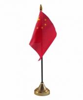 Polyester chinese vlag voor op bureau 10 x 15 cm