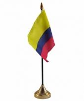 Polyester colombiaanse vlag voor op bureau 10 x 15 cm