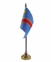 Polyester congolese vlag voor op bureau 10 x 15 cm