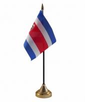 Polyester costa ricaanse vlag voor op bureau 10 x 15 cm