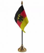 Polyester duitse vlag met adelaar wapenvoor op bureau 10 x 15 cm
