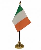 Polyester ierse vlag voor op bureau 10 x 15 cm