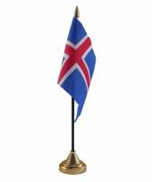 Polyester ijslandse vlag voor op bureau 10 x 15 cm