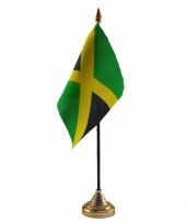 Polyester jamaicaanse vlag voor op bureau 10 x 15 cm