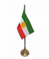 Polyester koerdische vlag voor op bureau 10 x 15 cm