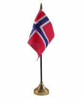 Polyester noorse vlag voor op bureau 10 x 15 cm