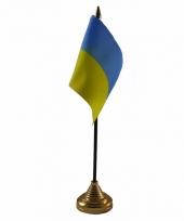 Polyester oekraiense vlag voor op bureau 10 x 15 cm
