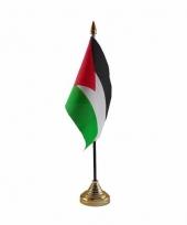 Polyester palestijnse vlag voor op bureau 10 x 15 cm