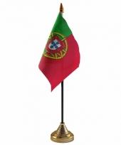 Polyester portugese vlag voor op bureau 10 x 15 cm