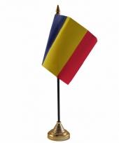 Polyester roemeense vlag voor op bureau 10 x 15 cm