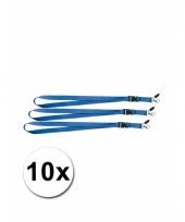 Polyester sleutelkoords blauw 10x