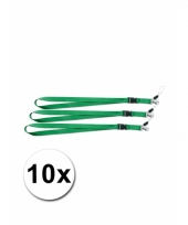 Polyester sleutelkoords groen 10x