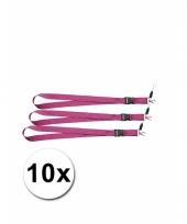 Polyester sleutelkoords roze 10x