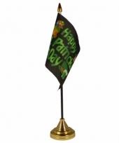 Polyester st patricks day vlag 10 x 15 cm tafel versiering