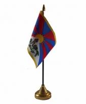 Polyester tibetaanse vlag voor op bureau 10 x 15 cm