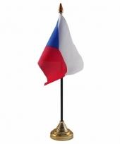 Polyester tsjechische vlag voor op bureau 10 x 15 cm