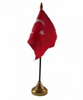Polyester turkse vlag voor op bureau 10 x 15 cm
