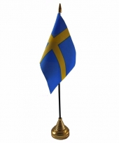 Polyester zweedse vlag voor op bureau 10 x 15 cm