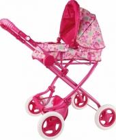 Poppen kinderwagen roze met vlinders
