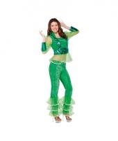 Popster disco kostuum groen voor dames
